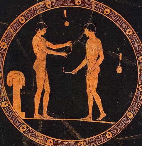 "Greek men removing the dirt from their bodies with a ""stirgil"""