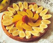Peach and banana cheesecake