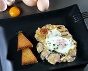 Eggs with serrano ham from Teruel