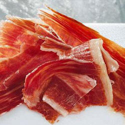 Plate of serrano ham from Teruel with D.O.