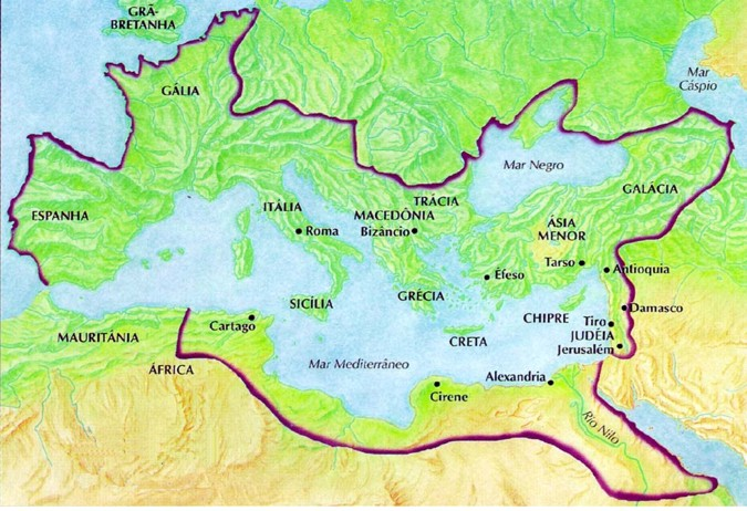 Map of the great extension of Imperial Rome