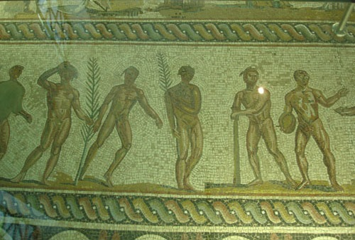 Greek mosaic with representation of figures and olive branches