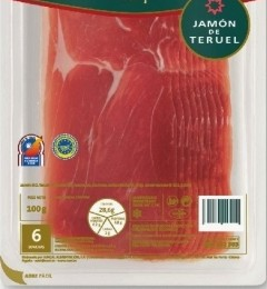 Example of a packet of Teruel ham with 'Denomination of Origin'