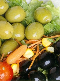 Green and black table olives