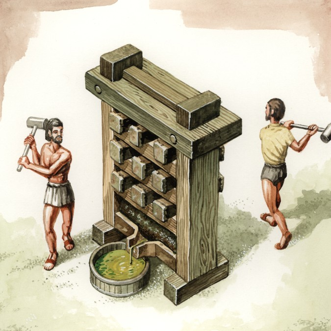 The wedge press was very used by the Romans
