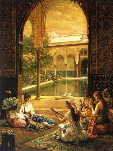 Mujeres arabes en ambiente de naturaleza