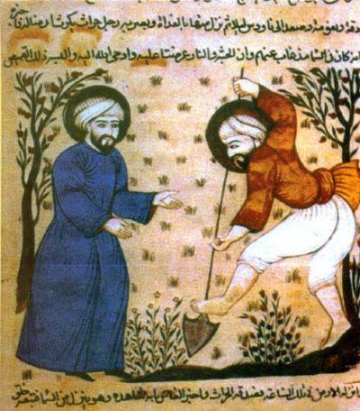 Agricultores musulmanes desarrollando cultivos como la aceituna