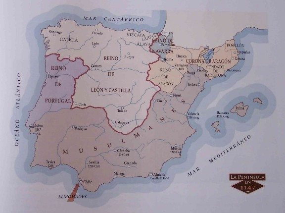Mapa de la Península Ibérica en 1147