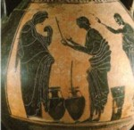 Anfora griega, utilizada para almacenar el aceite de oliva.