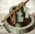 Molino de piedras concentricas, utilizadas para la elaboración del aceite de oliva