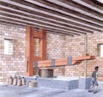 Prensa de viga y husillo, utilizada para la elaboración del aceite de oliva