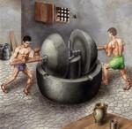 El trapetum, utiliza tracción humana