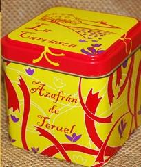 Azafrán de Teruel conservado y comercializado en caja metálica.
