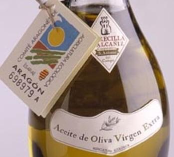 Etiqueta donde podemos ver que el aceite es de Aragón