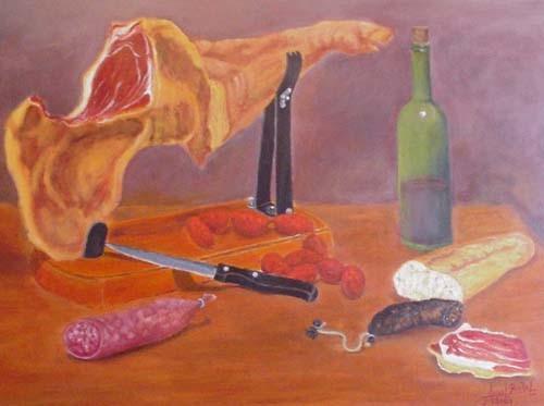 Embutidos, vino, jamón serrano y pan: rico manjar