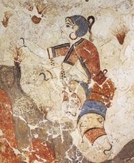 Fresco conservado de la antigua Persia, representa la recolección del azafrán