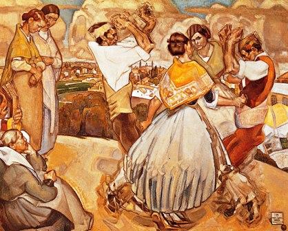 Grupo de joteros aragoneses bailando y cantando en el campo
