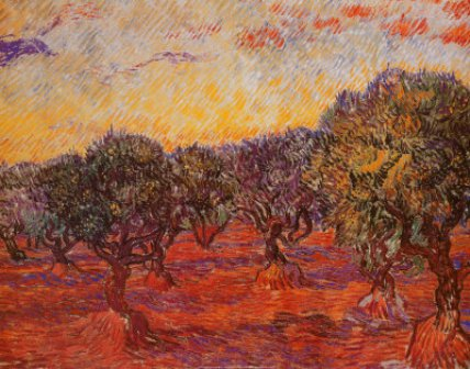 Puesta de sol en el olivar,cuadro impresionista