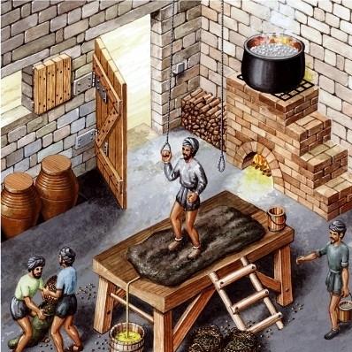 Sistema de pisado de las aceitunas para elaborar el aceite de oliva