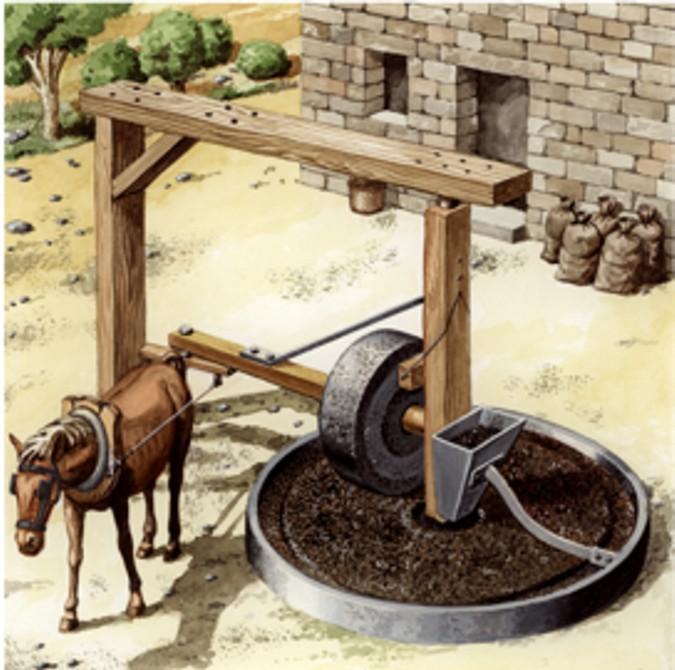 Muela romana con tracción animal