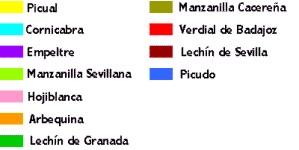 Leyenda de las zonas productoras de aceite de oliva