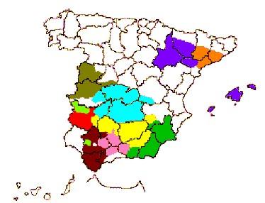 Mapa de las zonas productoras de aceite de oliva